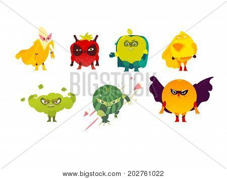 Funny fruit and berry hero, superhero characters, guards, protectors, set of flat style cartoon vector illustrations isolated on white background. Set of fruit and berry hero, superhero characters
