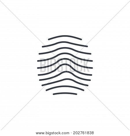 biometric thumbprint, finger scan, id secure thin line icon. Linear vector illustration. Pictogram isolated on white background