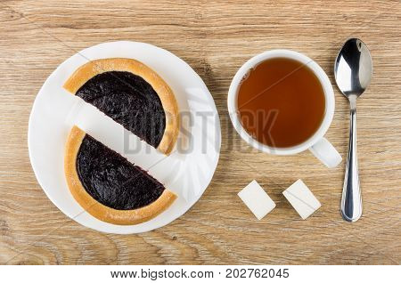 Pieces Of Pie With Blueberry Jam, Cup Of Tea, Sugar