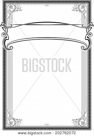 Decorative black  rectangular frame and banner. Template for diploma, certificate, card, label. Retro, art-nouveau style. A3 page size.