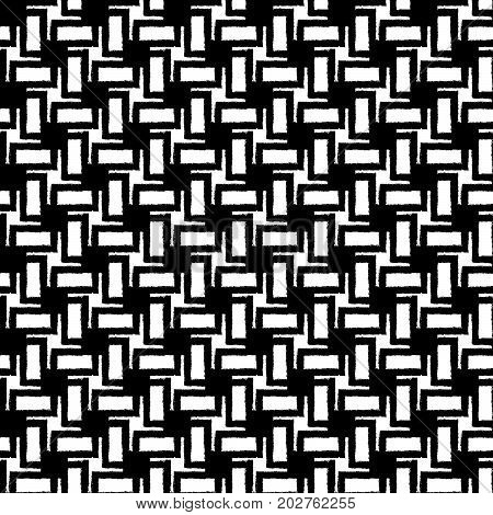 Black seamless geometric pattern with grunge effect. Swatch is included. Transparent background.