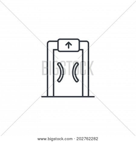 security metal detector, safety technology thin line icon. Linear vector illustration. Pictogram isolated on white background