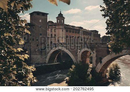 Pons Fabricius (Ponte dei Quattro Capi) is the oldest bridge built in 62 BC in Rome, Italy.