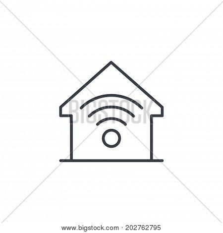 smart home, wireless technology, digital house thin line icon. Linear vector illustration. Pictogram isolated on white background