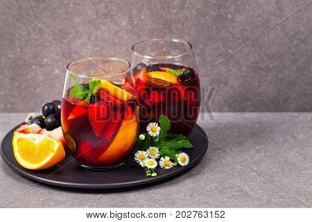 Summer Red Wine Sangria Beverage. Selective focus.