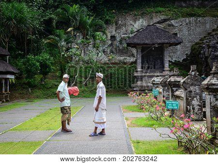 Balinese Prayers At Ubud Town In Bali, Indonesia