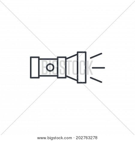 flashlight isometric thin line icon. Linear vector illustration. Pictogram isolated on white background