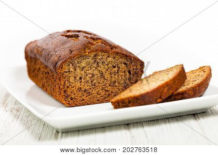 Homemade Banana Dessert Sweet Bread. Selective focus.