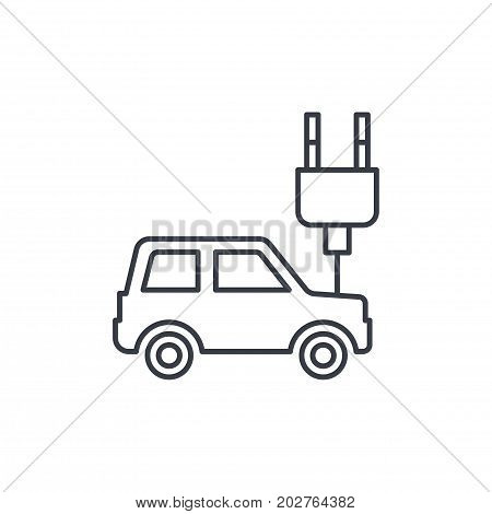 electric car, plug cable, ecology thin line icon. Linear vector illustration. Pictogram isolated on white background