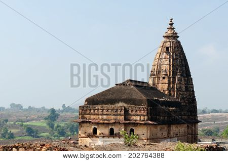 Ancient temple in Orchha Madhya Pradesh India.