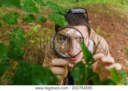 Image of young environmentalist with magnifying glass in forest on summer day