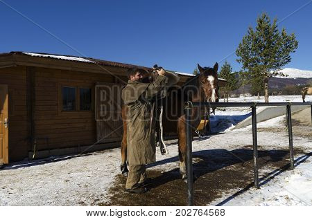 Man take off horse saddle. Selective focus