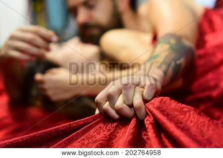 Perfect Morning And Sex Concept. Couple Holding Hands Tight