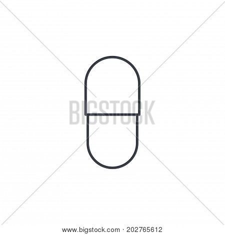 capsul red pill thin line icon. Linear vector illustration. Pictogram isolated on white background