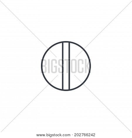 round white pill thin line icon. Linear vector illustration. Pictogram isolated on white background
