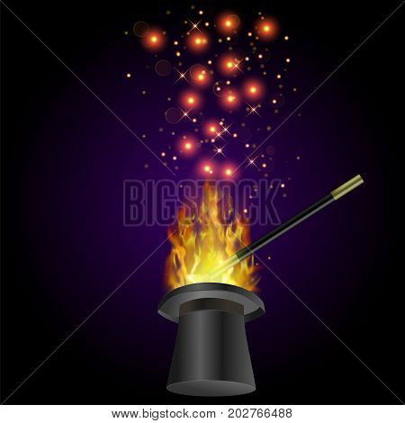 Realistic Magic Wand with Fire Flame and Starry Lights on Dark Background