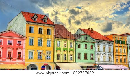 Buildings in the old town of Ceske Budejovice - South Bohemia, Czech Republic.