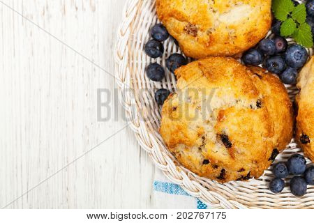 Homemade Wild Blueberry Scones Pastry. Selective focus