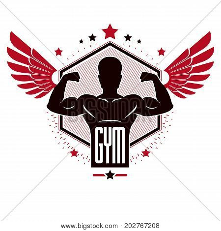 Bodybuilding weightlifting gym logotype sport club retro stylized vector emblem or badge with wings. With sportsman silhouette.