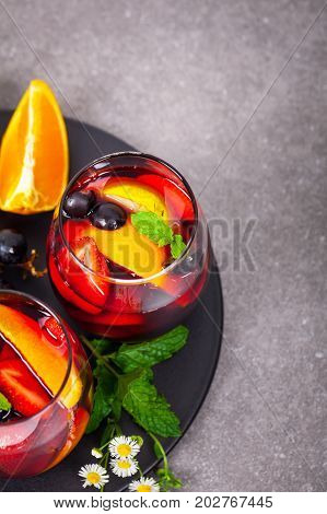 Red Wine Sangria Summer Drinks. Selective focus.