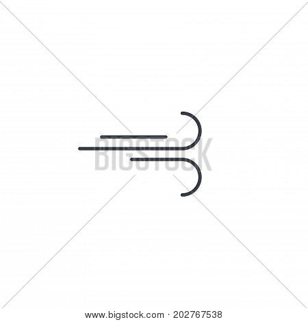 wind curve, windy weather thin line icon. Linear vector illustration. Pictogram isolated on white backgroundfog