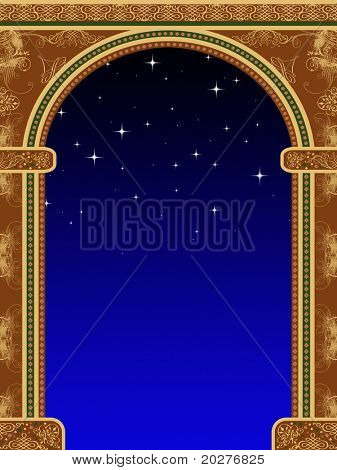 Arch with ornaments and sky with stars