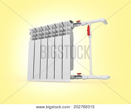 Heating White Radiator Isolated On Warm Gradient Background 3D