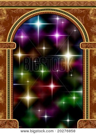 Arch with ornaments and starry background