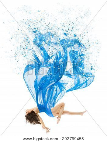 Woman Levitate In Art Dress Fashion Model Levitation Blue Artistic Fabric Flying As Melted Water