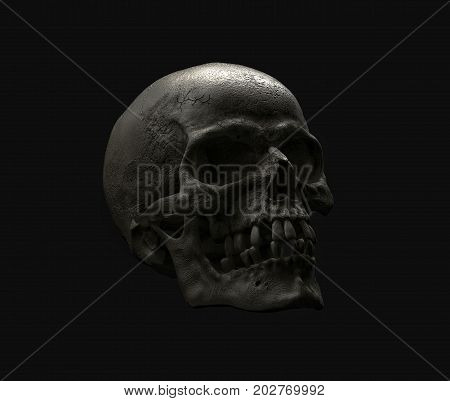 Real Human skull on Rich Colors a Black Background. The concept of death, horror. A symbol of spooky Halloween. 3d rendering illustration.