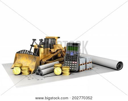 Calculation Of Construction Crawler Excavator Coins Construction Materials Calculator 3D Render On W