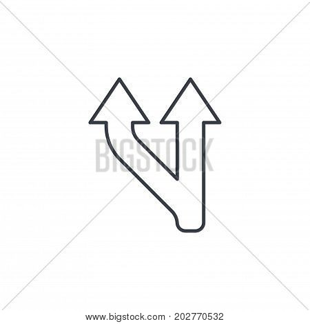 Junction Road Sign - Separation, Ttwo ways thin line icon. Linear vector illustration. Pictogram isolated on white background