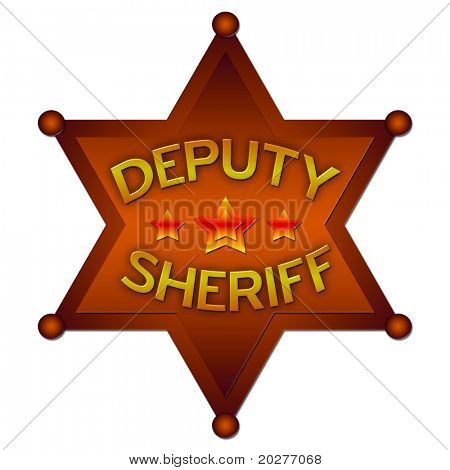 Deputy Sheriff abstract badge. Isolated