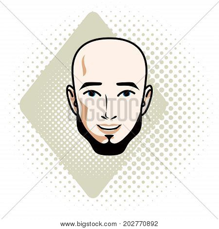Vector illustration of handsome bald male face with beard positive face features clipart.