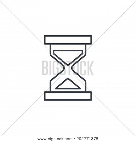 timer, sand hourglass, glass clock thin line icon. Linear vector illustration. Pictogram isolated on white background