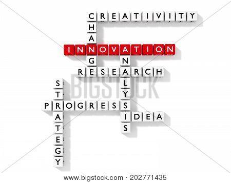 Crossword puzzle with innovation keywords business concept flat design 3D illustration