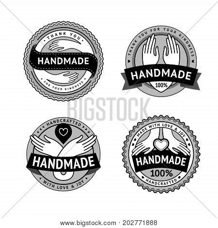 Retro labels and vintage tags for package design of hand made products. Vector set of hand logo in hipster style
