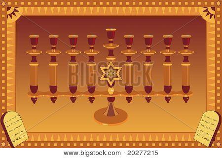 Decorative Menorah and stylized plates with 10 God's commandments
