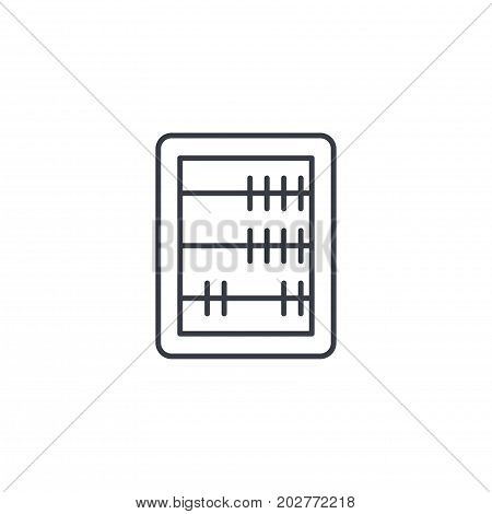 abacus, school education, mathematics or arithmetic thin line icon. Linear vector illustration. Pictogram isolated on white background