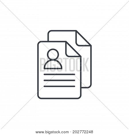 profile, social media user picture, recruitment, resume thin line icon. Linear vector illustration. Pictogram isolated on white background