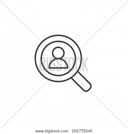 recruitment, resume search, job, selecting staff thin line icon. Linear vector illustration. Pictogram isolated on white background