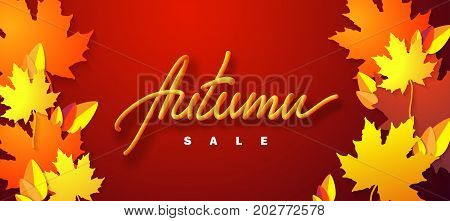 Autumn sale. Vector typographic illustration of sale sign with 3d lettered sign and colorful autumnal paper leaves on vibrant red background. Promotional business retail label
