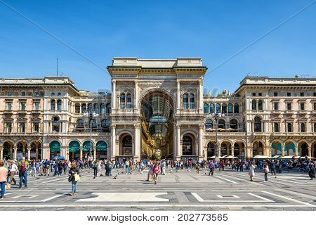 Milan, Italy - May 16, 2017: The Galleria Vittorio Emanuele II on the Piazza del Duomo (Cathedral Square). This gallery is one of the world's oldest shopping malls and tourist attraction of Milan.
