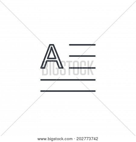 text content, block, newspaper article thin line icon. Linear vector illustration. Pictogram isolated on white background