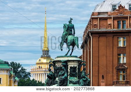 Monument To Nicholas 1, Against The Background Of The Admiralty In St. Petersburg