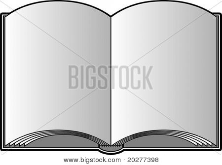 Vector open book with blank pages