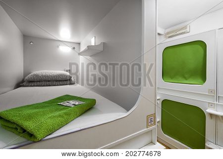 Moscow - December 21, 2016: Interior of capsule hotel. Capsule hotels are inexpensive and therefore very popular in the world.