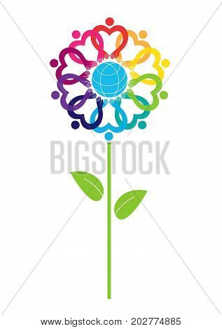 Globe and people icon vector illustration. llustration of earth growing in nature garden with flower plant. Sign-symbol - the unity friendship and alliance.