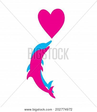 pair of lovers of dolphins. silhouettes of the dolphins with heart. the concept of love and tenderness. template for Valentine's day.