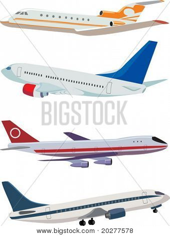 Vector airplanes: four different planes poster